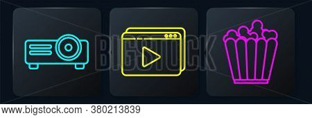 Set Line Movie, Film, Media Projector, Popcorn In Box And Online Play Video. Black Square Button. Ve