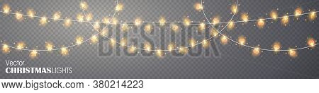 Christmas Lights On Transparent Background. Glowing Gold Garland For Xmas Holiday. String With Glowi