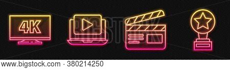 Set Line Movie Clapper, Screen Tv With 4k, Online Play Video And Movie Trophy. Glowing Neon Icon. Ve
