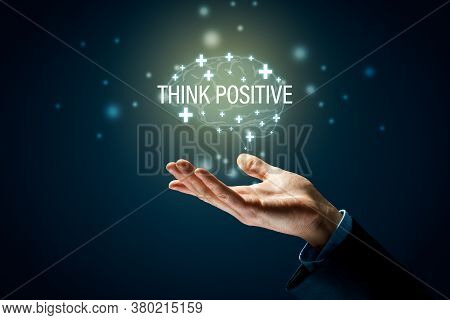 Coach Motivate To Think Positive Concept. Businessman Helping Hand, Plus Signs In Shape Of Brain And