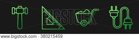 Set Line Shovel, Hammer, Triangular Ruler And Electric Plug. Gradient Color Icons. Vector