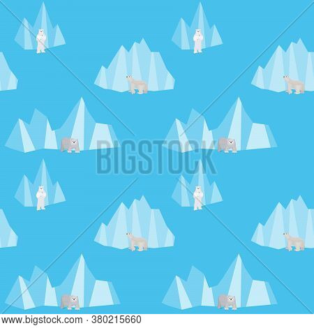 Simple Seamless Pattern With Bears At The North Pole Vector Seamless Pattern