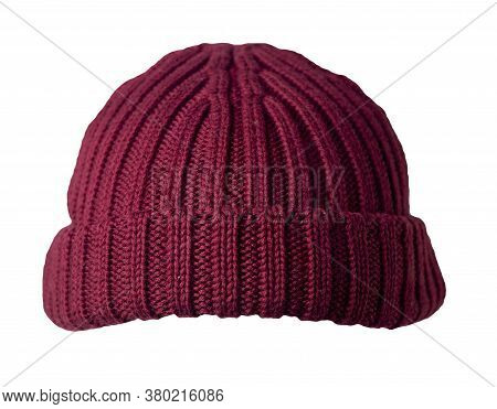 Docker Knitted Red Hat Isolated On White Background. Fashionable Rapper Hat. Hat Fisherman