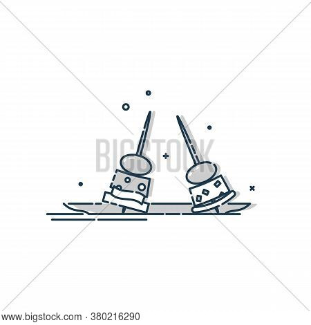Flat Illustration Of Two Canapes In Plate On White Background. Meat, Cheese, Olive, Bread. Spanish T
