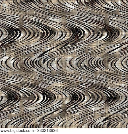 Seamless Sepia Grunge Stripe Print Texture Background. Worn Mottled Linear Striped Pattern Textile F