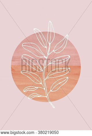 Leaves Line Art With Watercolor Geometric Shapes On Neutral Background. Modern Digital Drawing. Fash
