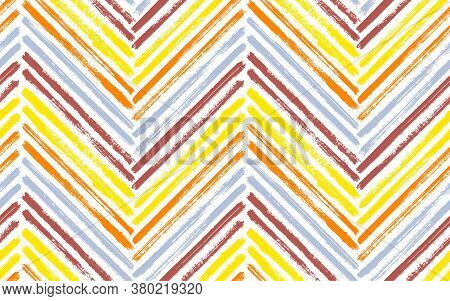 Bohemian Zig Zag Interior Print Vector Seamless Pattern. Paint Brush Stroke Geometric Stripes. Hand