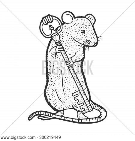 Mouse With Key Sketch Engraving Vector Illustration. T-shirt Apparel Print Design. Scratch Board Imi
