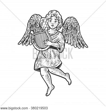 Angel With Lyre Sketch Engraving Vector Illustration. T-shirt Apparel Print Design. Scratch Board Im