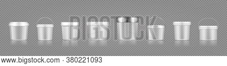 Empty Transparent Bucket And Jar Mockup Set For Ice Cream, Yoghurt, Cheese, Mayonnaise, Paint Or Put