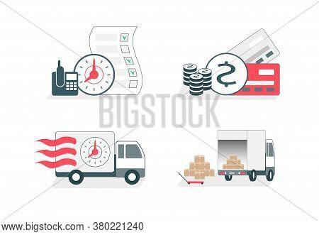 Vector Illustration Set. Online Food Delivery Service, Online Order Tracking, Home And Office Delive