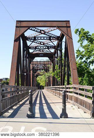 Entrance Of Winters Historic Trestle Train Bridge Viewed From Putah Creek Road