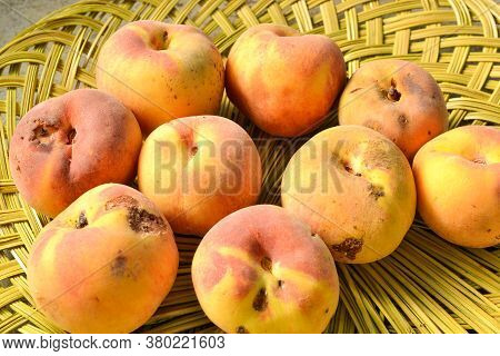A Group Of Blemished Yellow Peaches On Woven Green Basket Viewed From Above