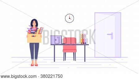 Dismissal Concept. A Dismissed Employee With A Box Of Things Near The Former Workplace. Unemployment