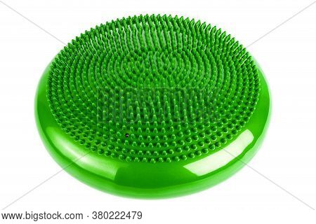 Green Inflatable Balance Disk Isoleated On White Background, It Is Also Known As A Stability Disc, W