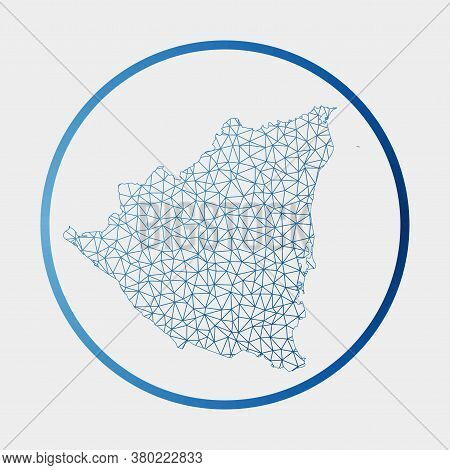 Nicaragua Icon. Network Map Of The Country. Round Nicaragua Sign With Gradient Ring. Technology, Int