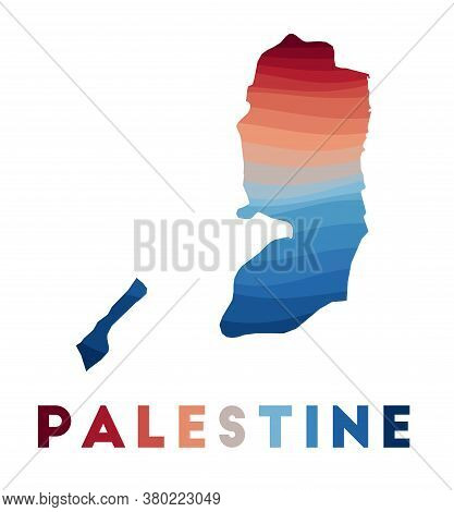 Palestine Map. Map Of The Country With Beautiful Geometric Waves In Red Blue Colors. Vivid Palestine