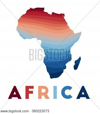 Africa Map. Map Of The Continent With Beautiful Geometric Waves In Red Blue Colors. Vivid Africa Sha