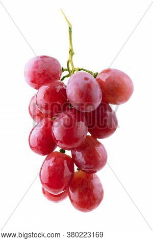Red Grape With Leaf Isolated On White Background