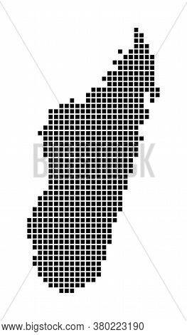 Madagascar Map. Map Of Madagascar In Dotted Style. Borders Of The Country Filled With Rectangles For