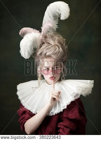 Stylish Eyewear. Young Woman As Marie Antoinette Isolated On Dark Green Background. Retro Style, Com