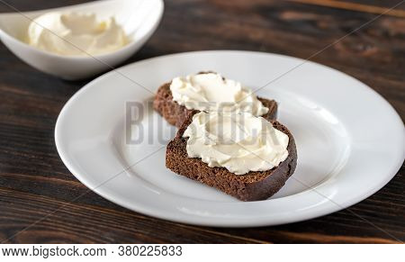 Slices Of Rye Bread With Cream Cheese