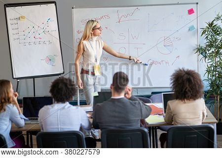 young female blonde caucasian businesswoman lecturing colleagues about SWOT meaning. Professional education, progress, teaching, learning.