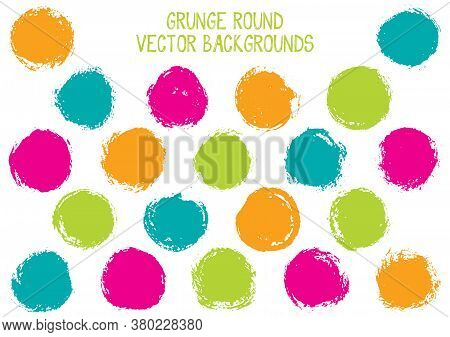 Vector Grunge Circles. Modern Stamp Texture Circle Scratched Label Backgrounds. Circular Icon, Badge
