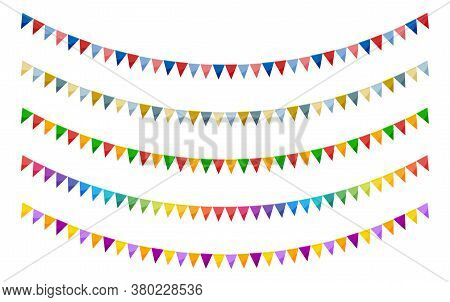 Bright Paper Bunting Party Flags Set Isolated On White Background. Carnival Garland With Flags. Deco