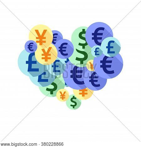 Euro Dollar Pound Yen Round Symbols Scatter Currency Vector Design. Payment Pattern. Currency Tokens
