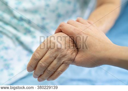 Holding Touching Hands Asian Senior Or Elderly Old Lady Woman Patient With Love, Care, Helping, Enco