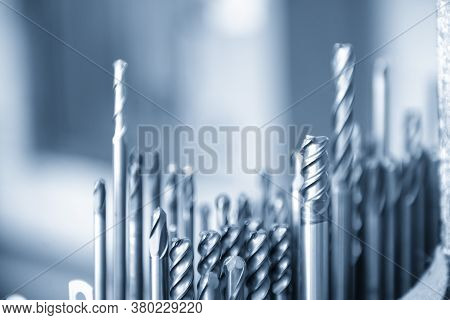 Close-up Scene Of The Used Solid  Endmill Tools For Cnc Milling Machine .the  Cutting  Tool For Mach