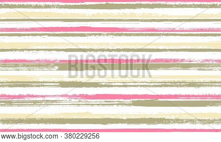 Watercolor Freehand Rough Stripes Vector Seamless Pattern. Hipster Candy Wrap  Sweet Design. Scratch