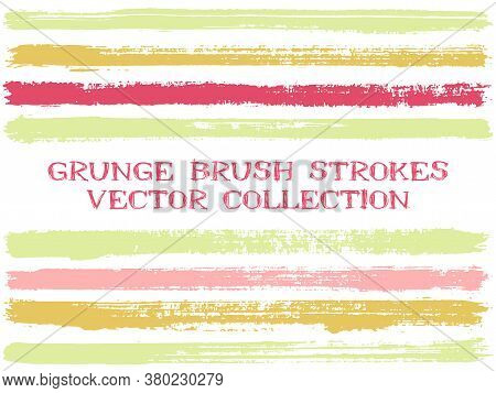 Long Ink Brush Strokes Isolated Design Elements. Set Of Paint Lines. Distressed Stripes, Textured Pa