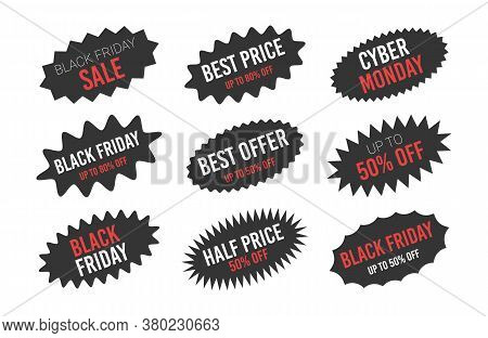 Black Friday Sale Oval Starburst Sticker Set.