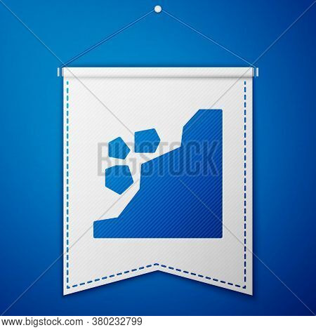 Blue Landslide Icon Isolated On Blue Background. Stones Fall From The Rock. Boulders Rolling Down A