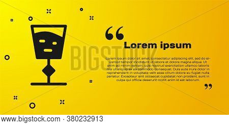 Black Wine Glass Icon Isolated On Yellow Background. Wineglass Sign. Vector Illustration