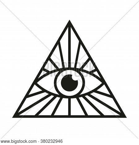 All Seeing Eye Icon. Eye In Triangle. Illuminati Mason Symbol Vector Illustration