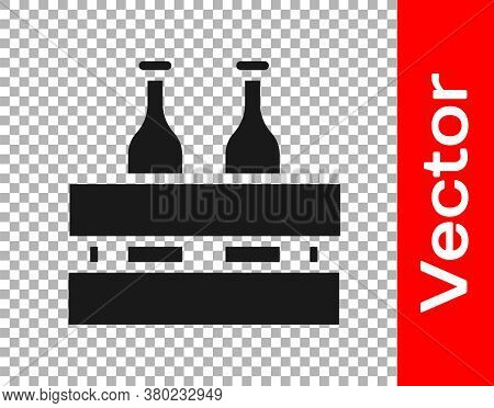 Black Pack Of Beer Bottles Icon Isolated On Transparent Background. Wooden Box And Beer Bottles. Cas