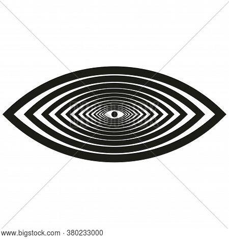 Hypnotic Eye Illusion. All Seeing Eye. Illuminati Mason Symbol Isolated Vector Illustration