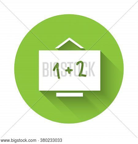 White Chalkboard Icon Isolated With Long Shadow. School Blackboard Sign. Green Circle Button. Vector