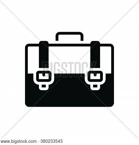 Black Solid Icon For Briefcase Bag Baggage Luggage Suitcase Accessory Business Portfolio