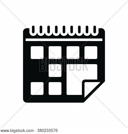 Black Solid Icon For Calendar Almanac Chronology Agenda Appointment Schedule Reminder Month
