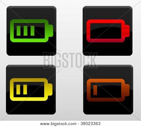 Glossy battery icons