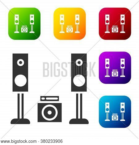 Black Home Stereo With Two Speaker S Icon Isolated On White Background. Music System. Set Icons In C