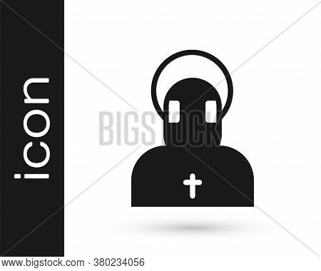 Black Monk Icon Isolated On White Background. Vector
