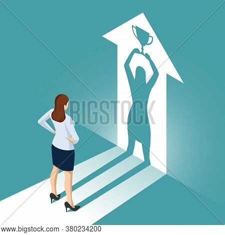 Isometric Businesswoman Watches His Shadow And Contemplating About Victory. Emancipation, Ambition,