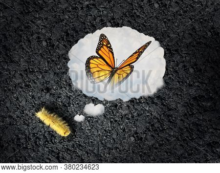 Ambition Concept And Aspiration Idea As A Larva Dreaming Of Becoming A Butterfly As An Achievement A