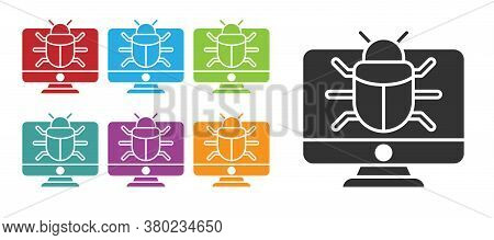 Black System Bug On Monitor Icon Isolated On White Background. Code Bug Concept. Bug In The System.