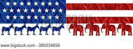 American Election Decision As Left Versus Right Represented By The Liberal And Conservative Symbol F